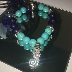 Healing Stone Bracelet with CZ Seahorse
